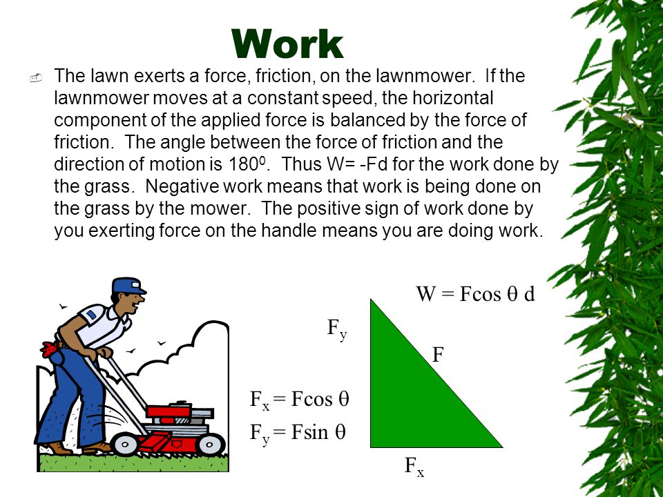 Work W = Fcos q d Fy F Fx = Fcos q Fy = Fsin q Fx