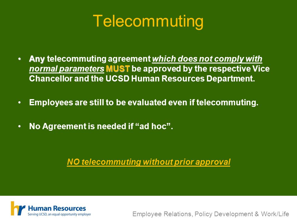 Flexible work arrangements ppt video online download no telecommuting without prior approval platinumwayz