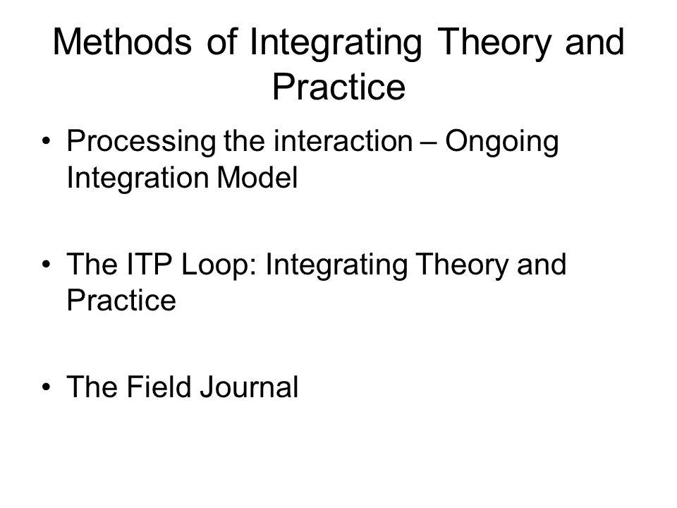 Methods of Integrating Theory and Practice