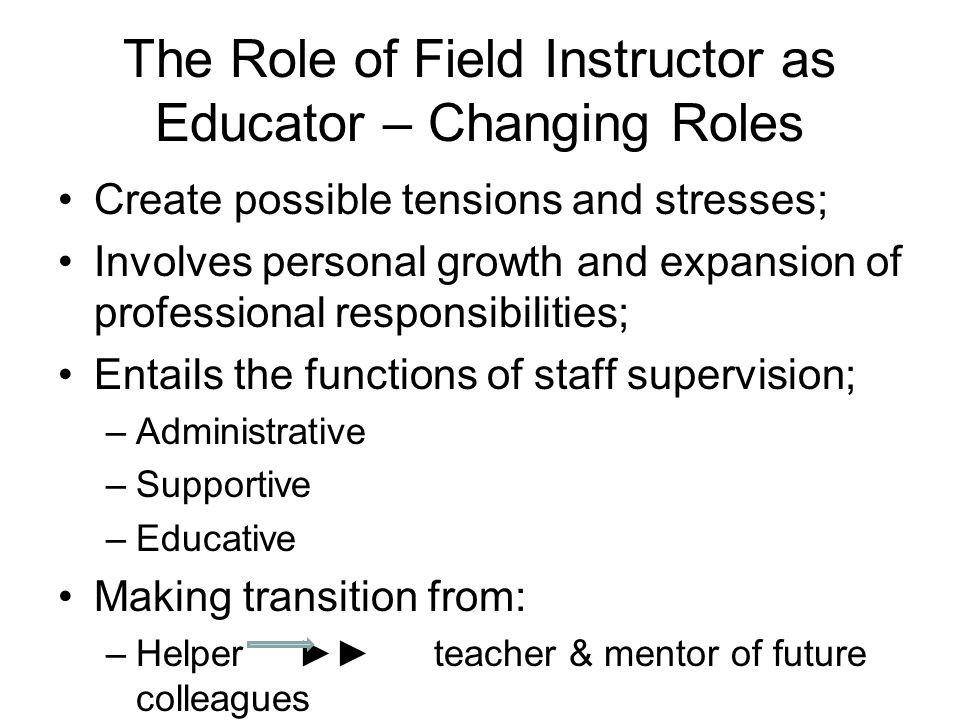 The Role of Field Instructor as Educator – Changing Roles