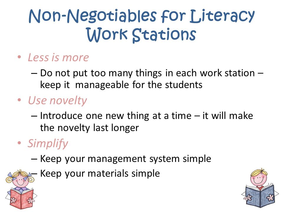 Non-Negotiables for Literacy Work Stations