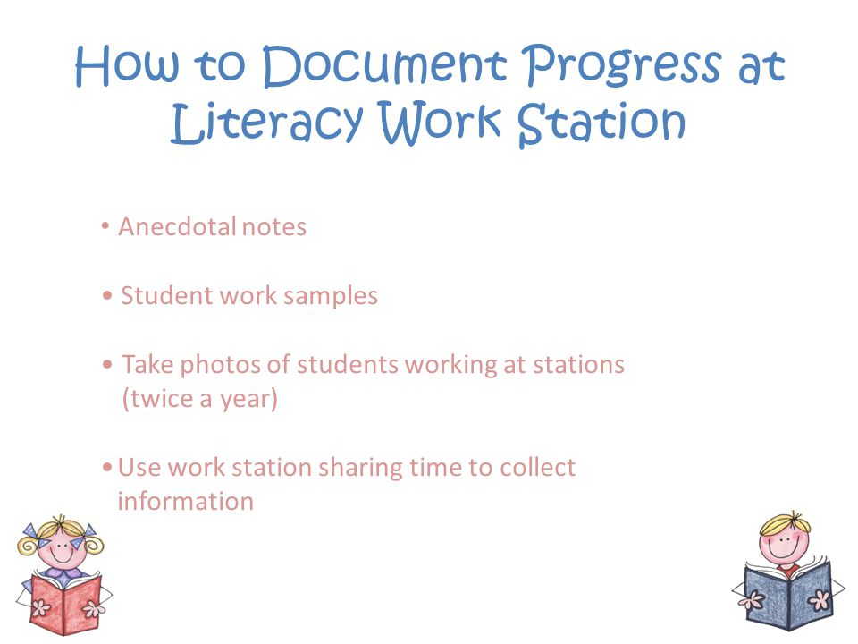 How to Document Progress at Literacy Work Station