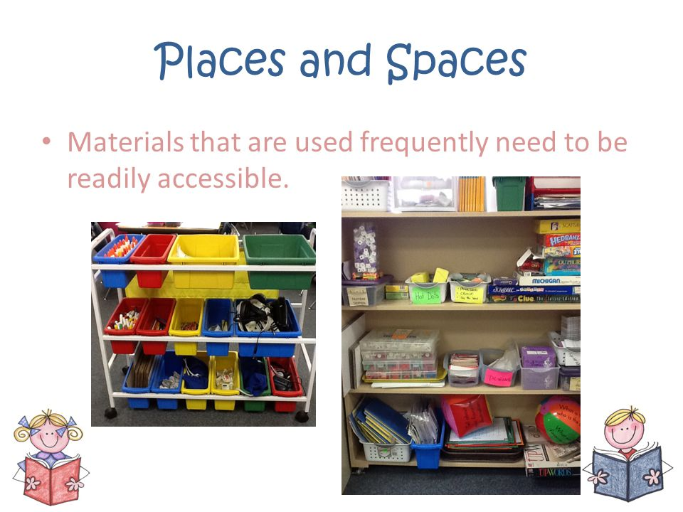 Places and Spaces Materials that are used frequently need to be readily accessible.