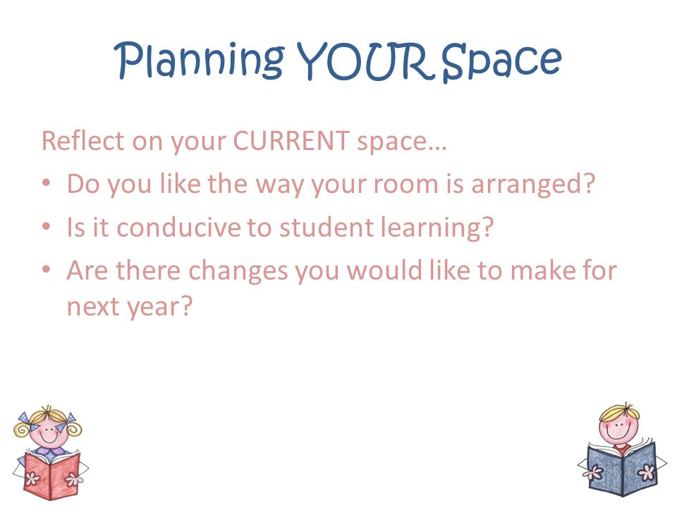 Planning YOUR Space Reflect on your CURRENT space…