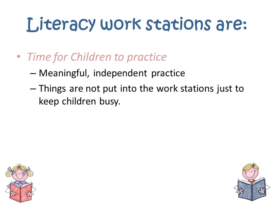 Literacy work stations are: