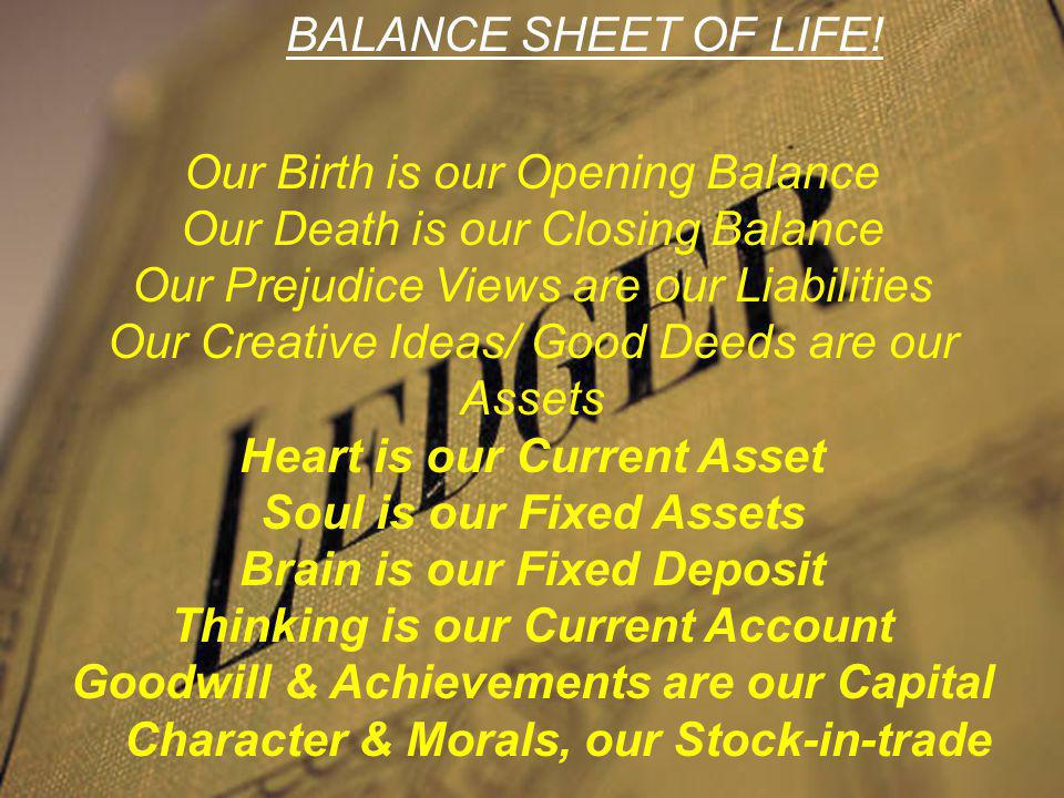 Take care of your Balance-Sheet
