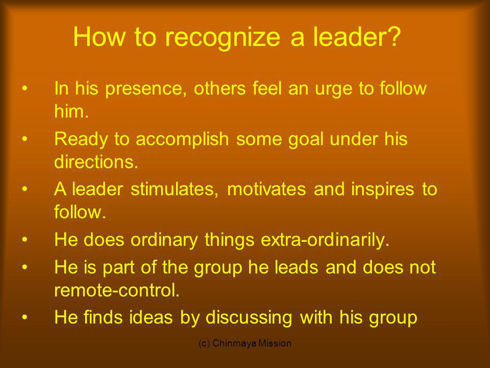 How to recognize a leader