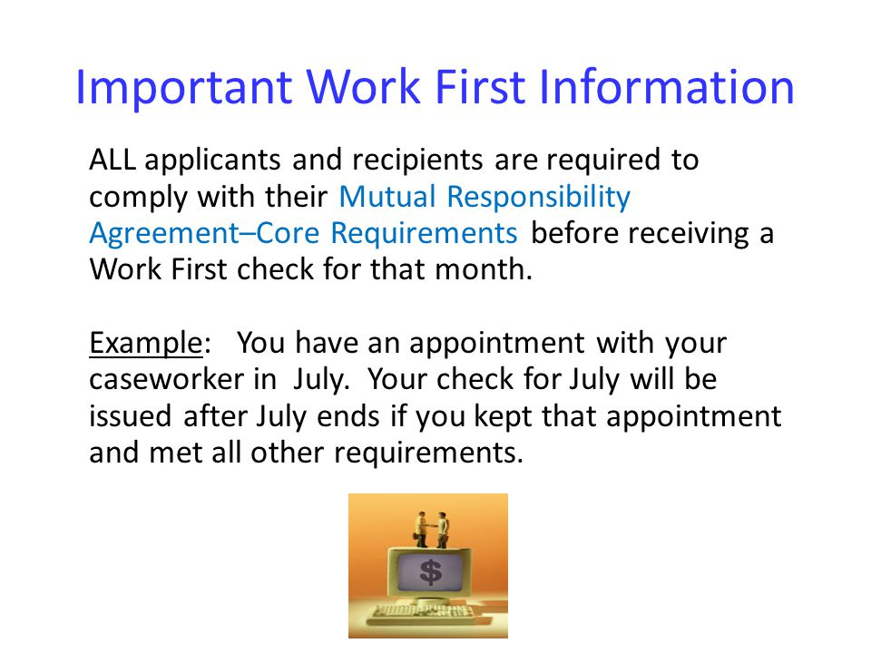Important Work First Information