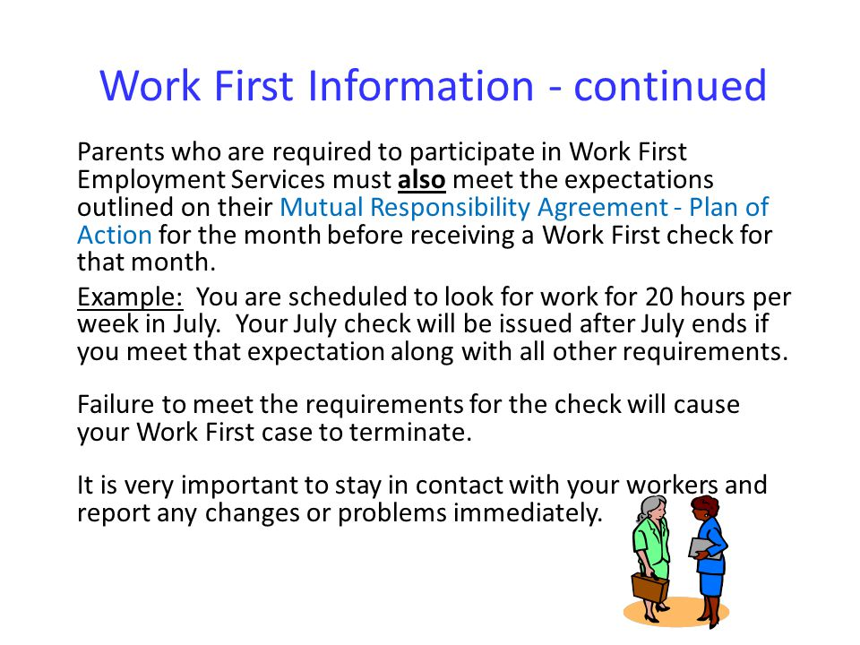 Work First Information - continued