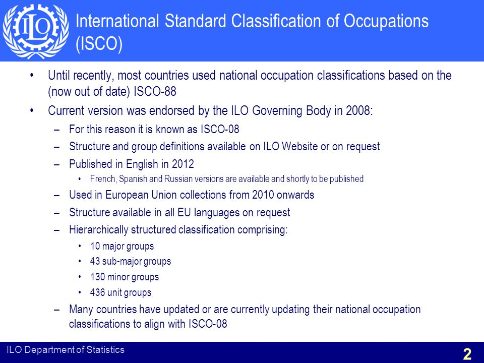 International Standard Classification of Occupations (ISCO)