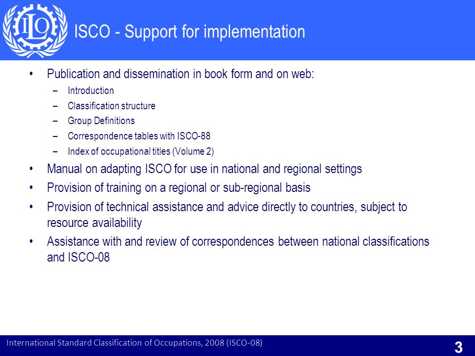 ISCO - Support for implementation