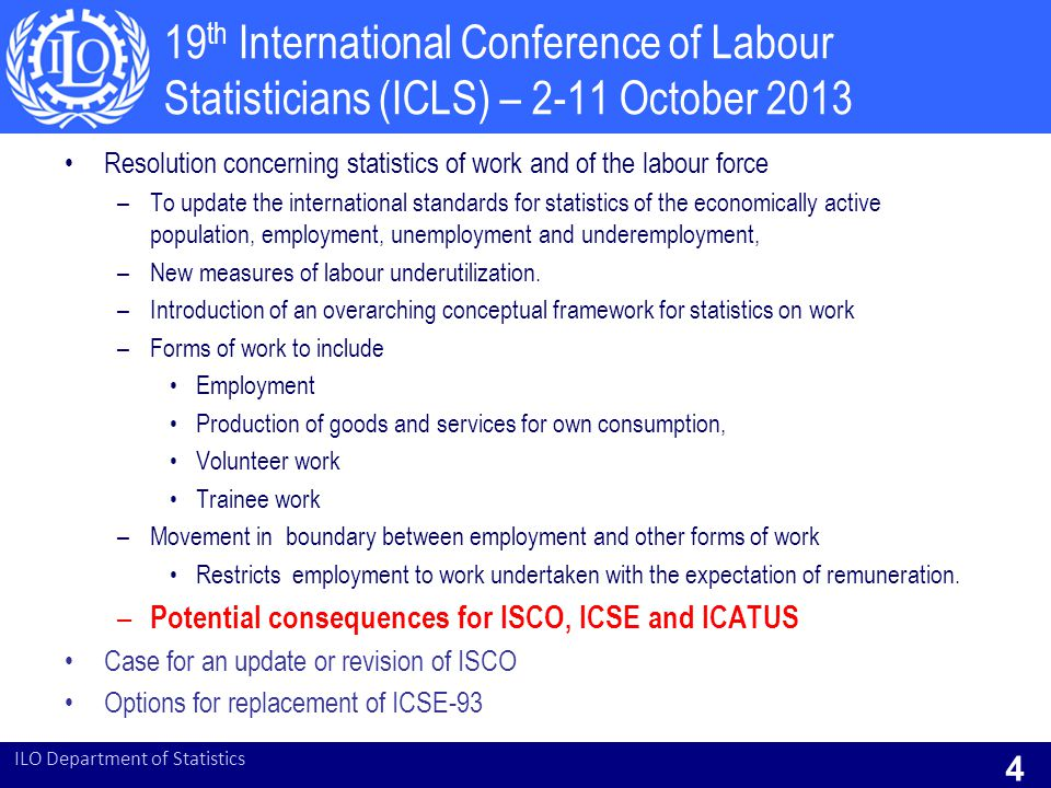 19th International Conference of Labour Statisticians (ICLS) – 2-11 October 2013