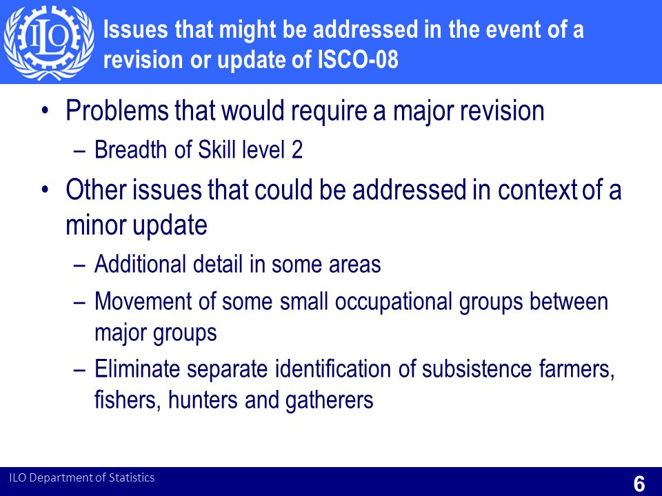 Problems that would require a major revision