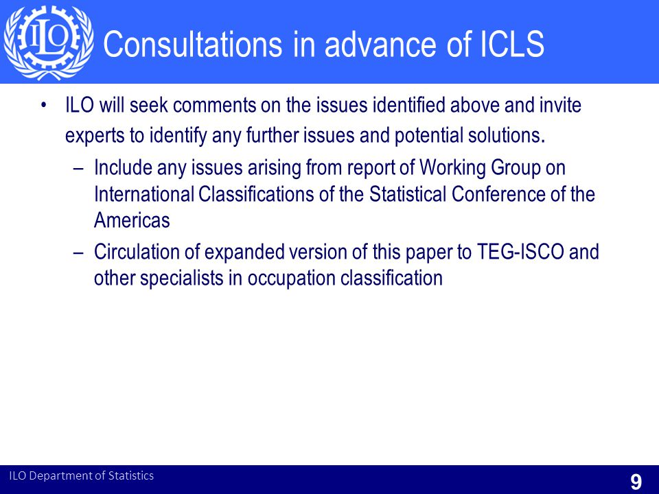 Consultations in advance of ICLS