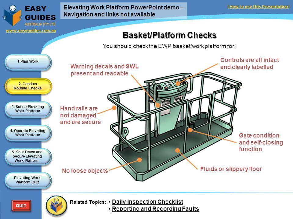 Basket/Platform Checks