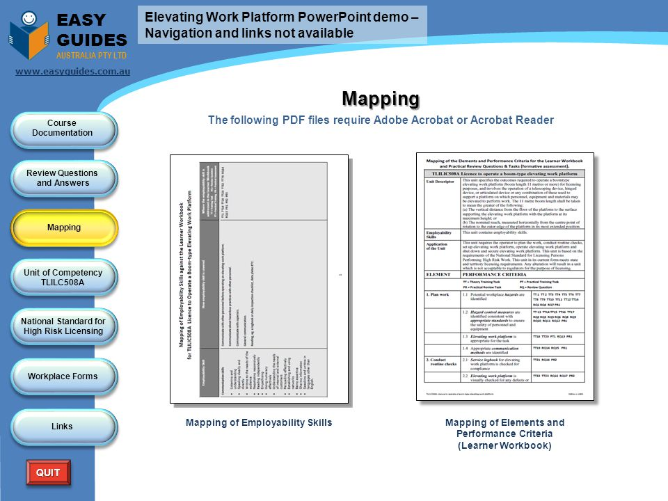 Mapping EASY GUIDES Elevating Work Platform PowerPoint demo –
