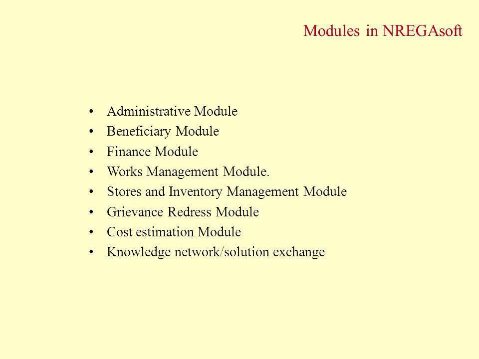 Modules in NREGAsoft Administrative Module Beneficiary Module