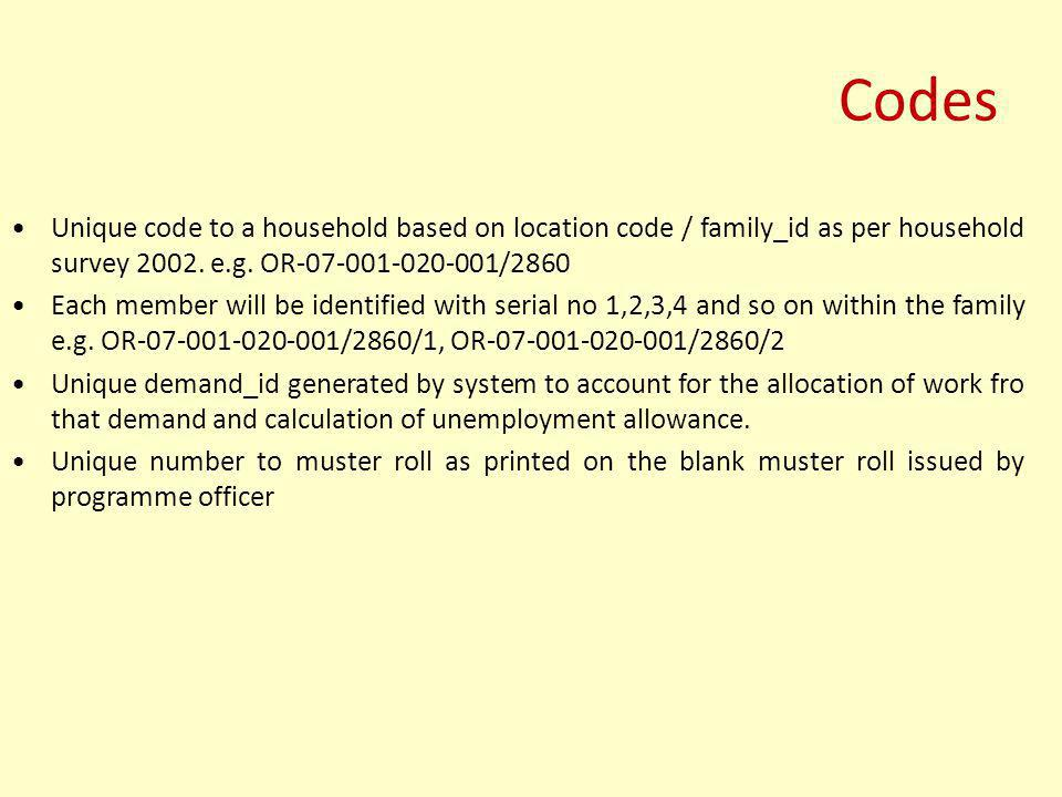 Codes Unique code to a household based on location code / family_id as per household survey 2002. e.g. OR-07-001-020-001/2860.