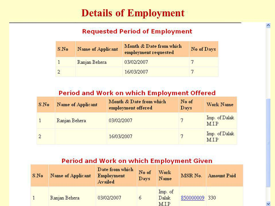 Details of Employment