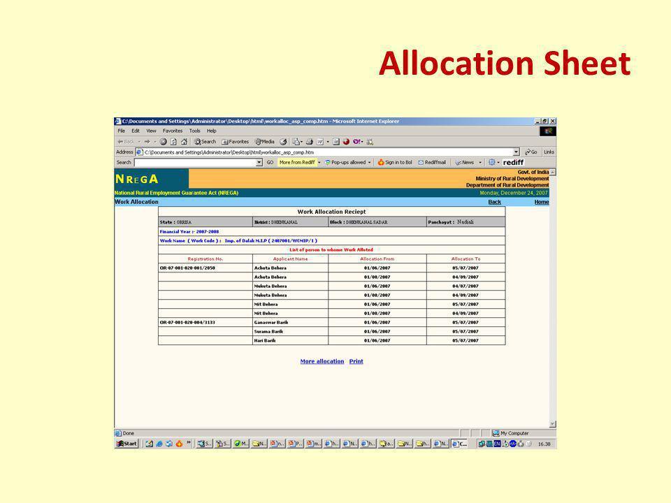 Allocation Sheet