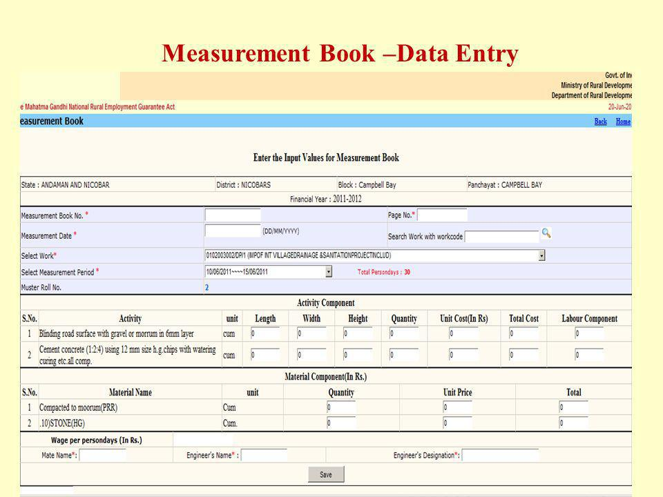 Measurement Book –Data Entry