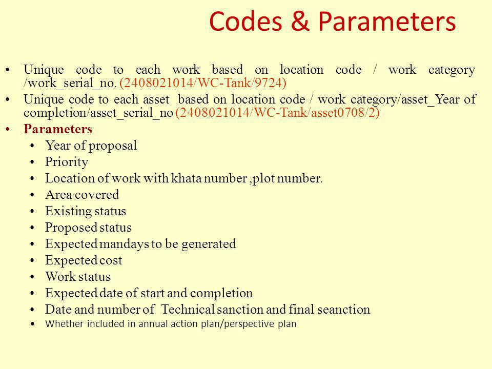 Codes & Parameters Unique code to each work based on location code / work category /work_serial_no. (2408021014/WC-Tank/9724)