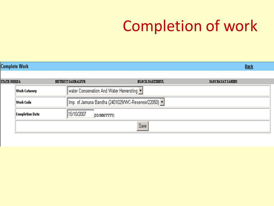 Completion of work
