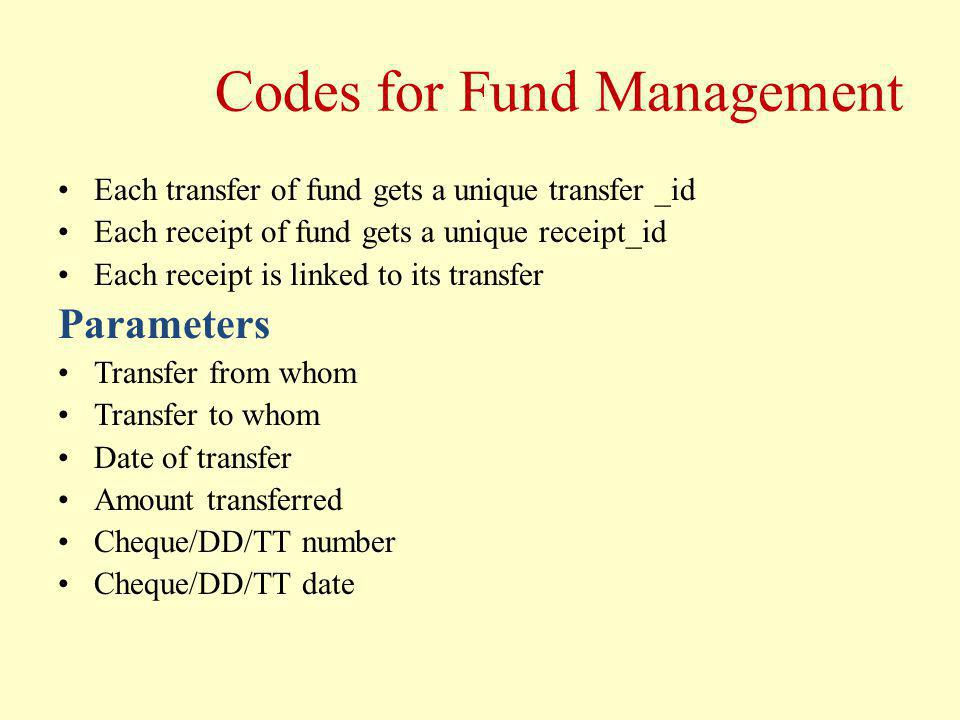 Codes for Fund Management