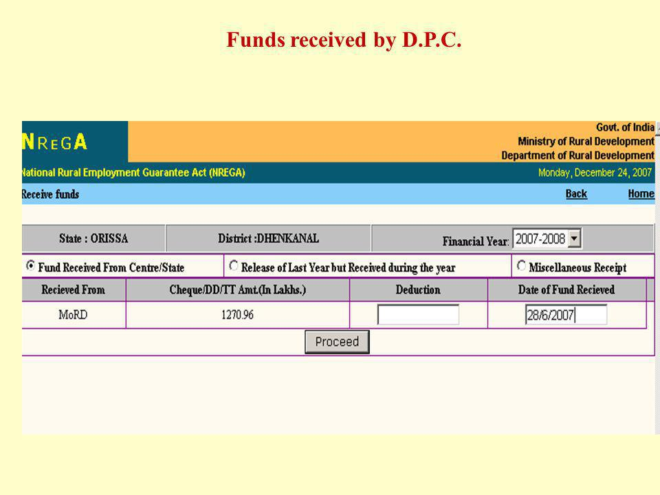 Funds received by D.P.C.