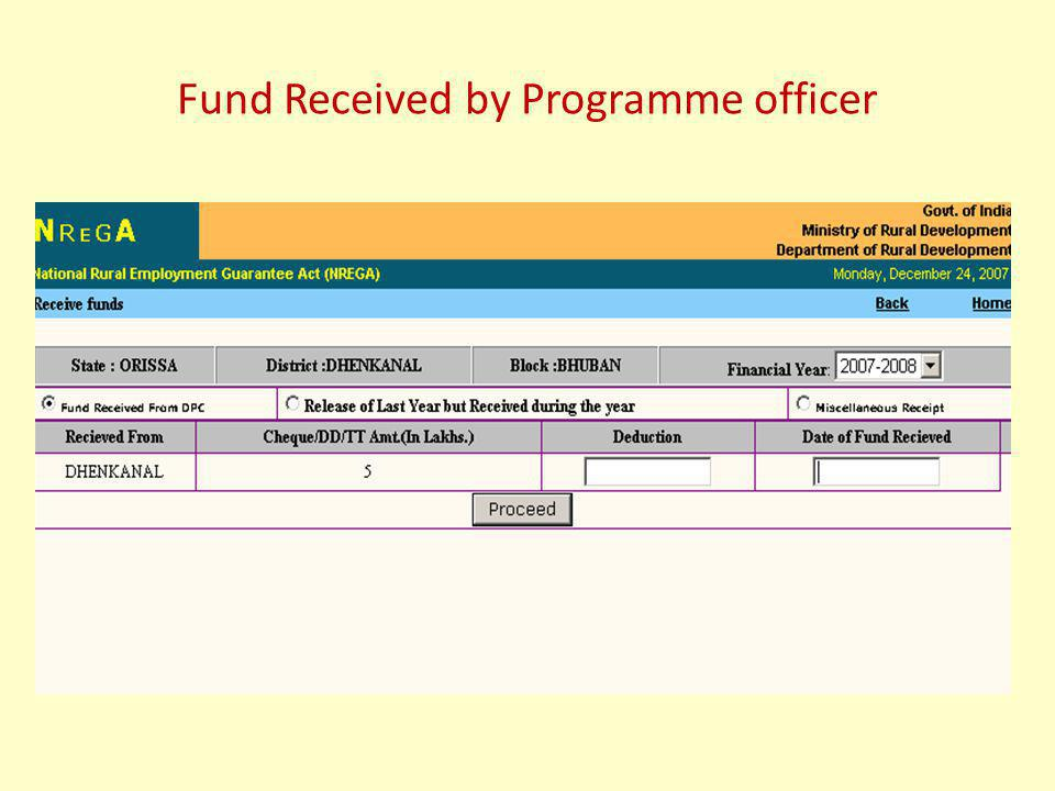 Fund Received by Programme officer
