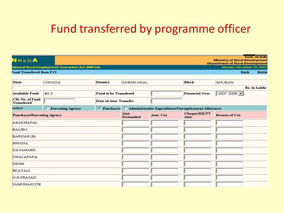 Fund transferred by programme officer