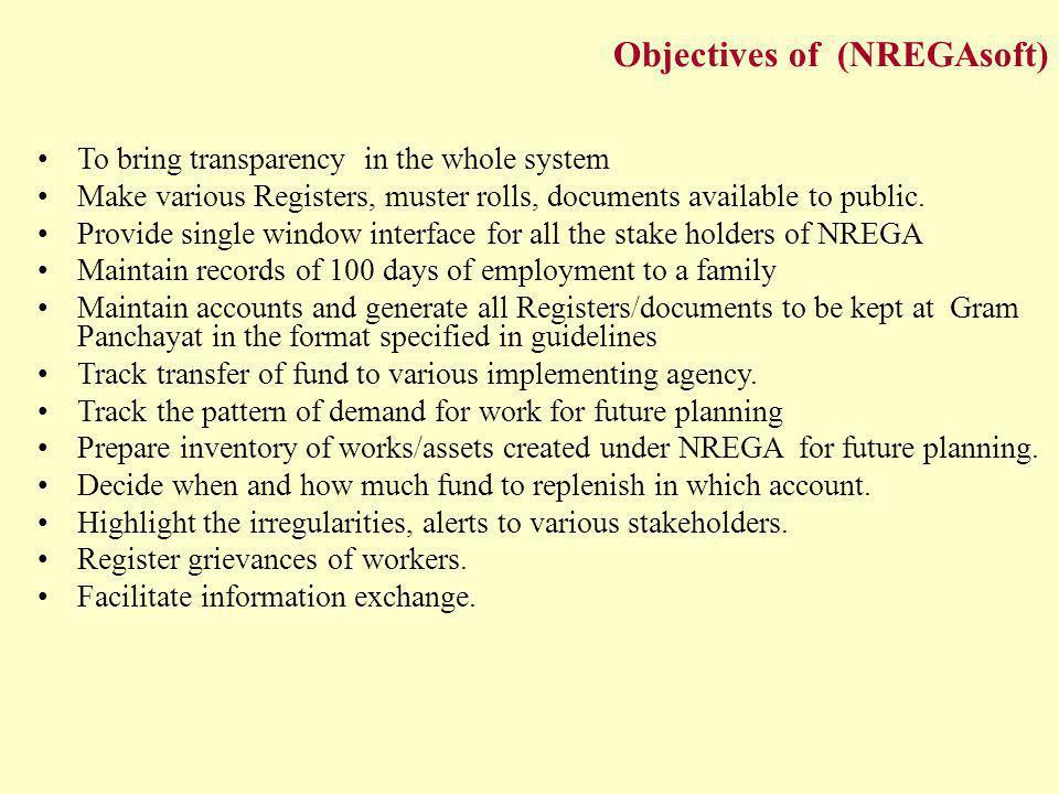 Objectives of (NREGAsoft)