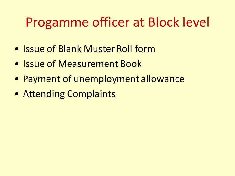 Progamme officer at Block level
