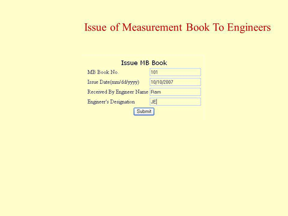 Issue of Measurement Book To Engineers
