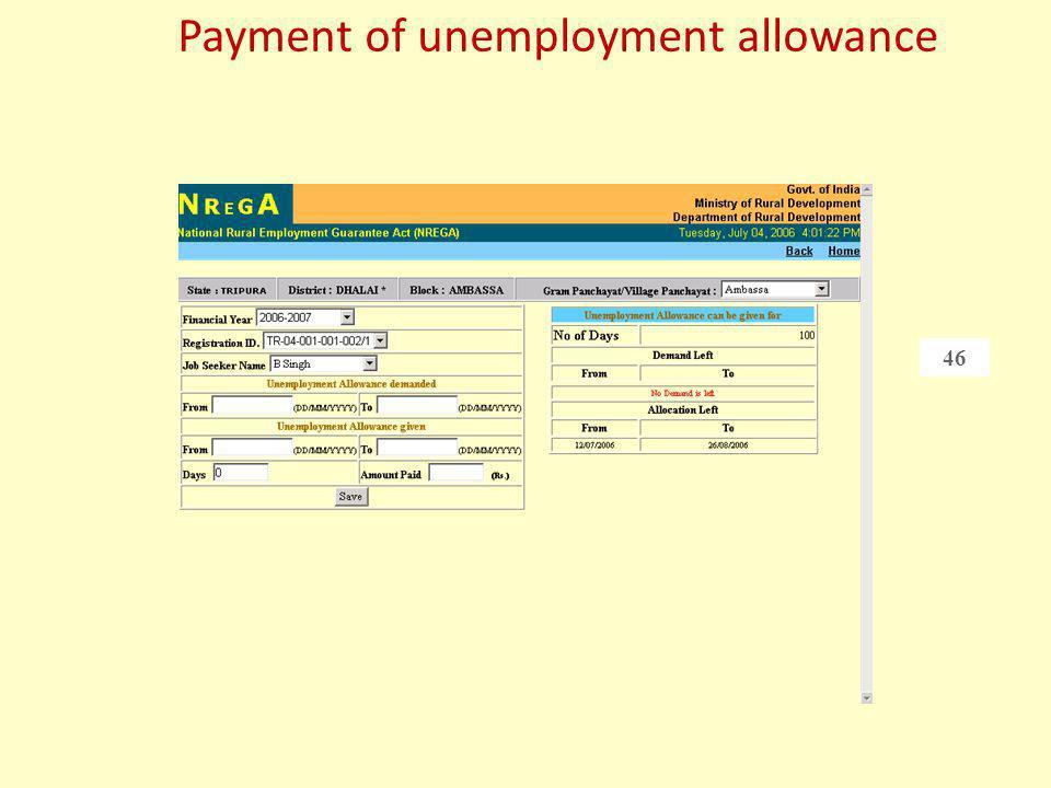 Payment of unemployment allowance
