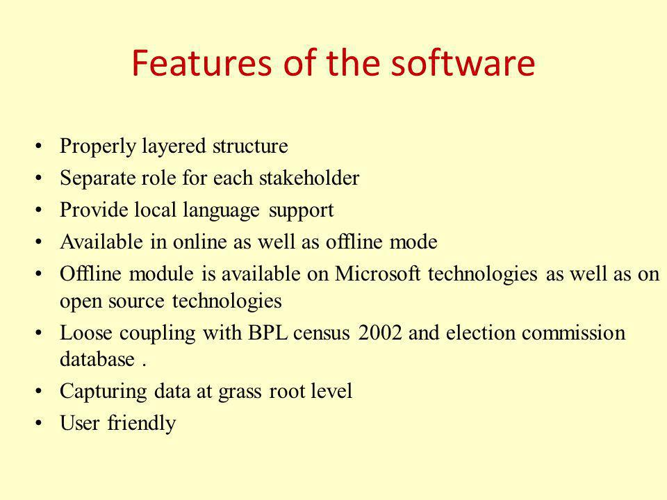 Features of the software