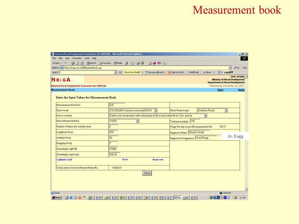 Measurement book Jr. Engg