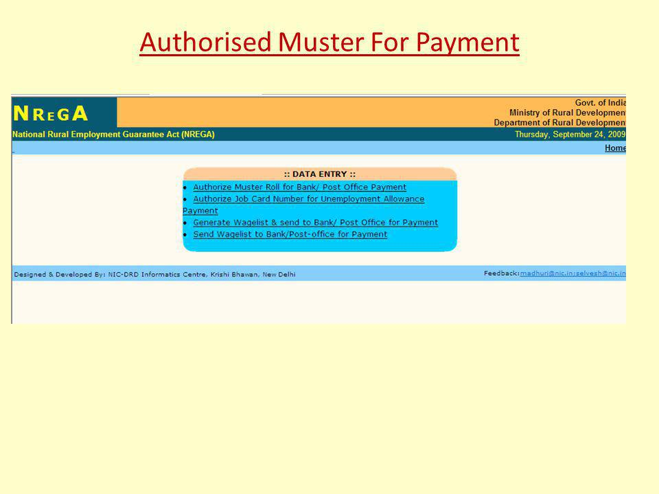 Authorised Muster For Payment