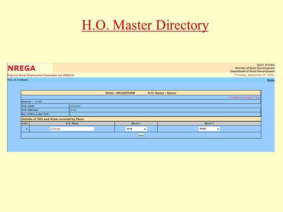 H.O. Master Directory