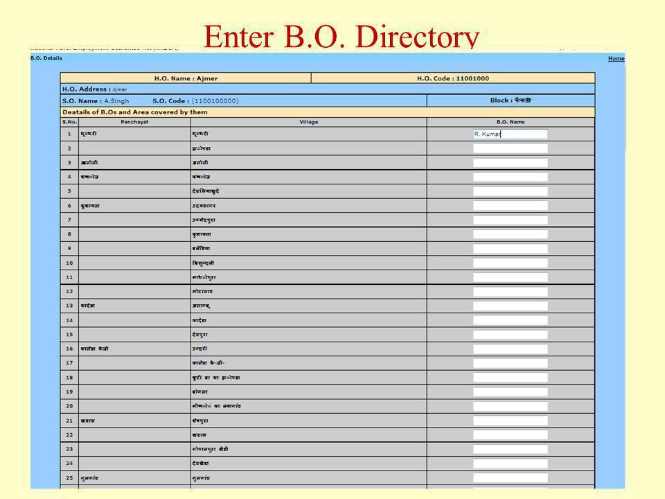 Enter B.O. Directory
