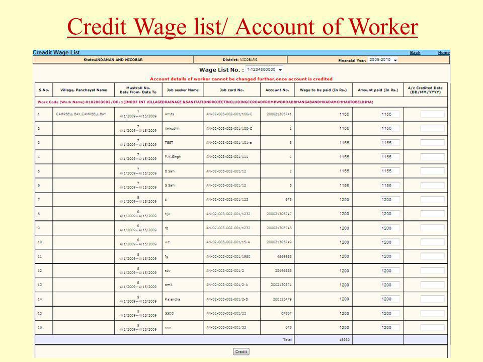 Credit Wage list/ Account of Worker