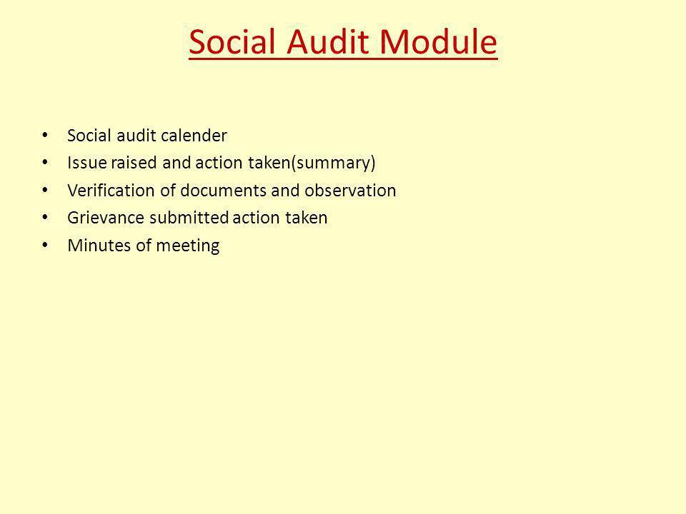 Social Audit Module Social audit calender