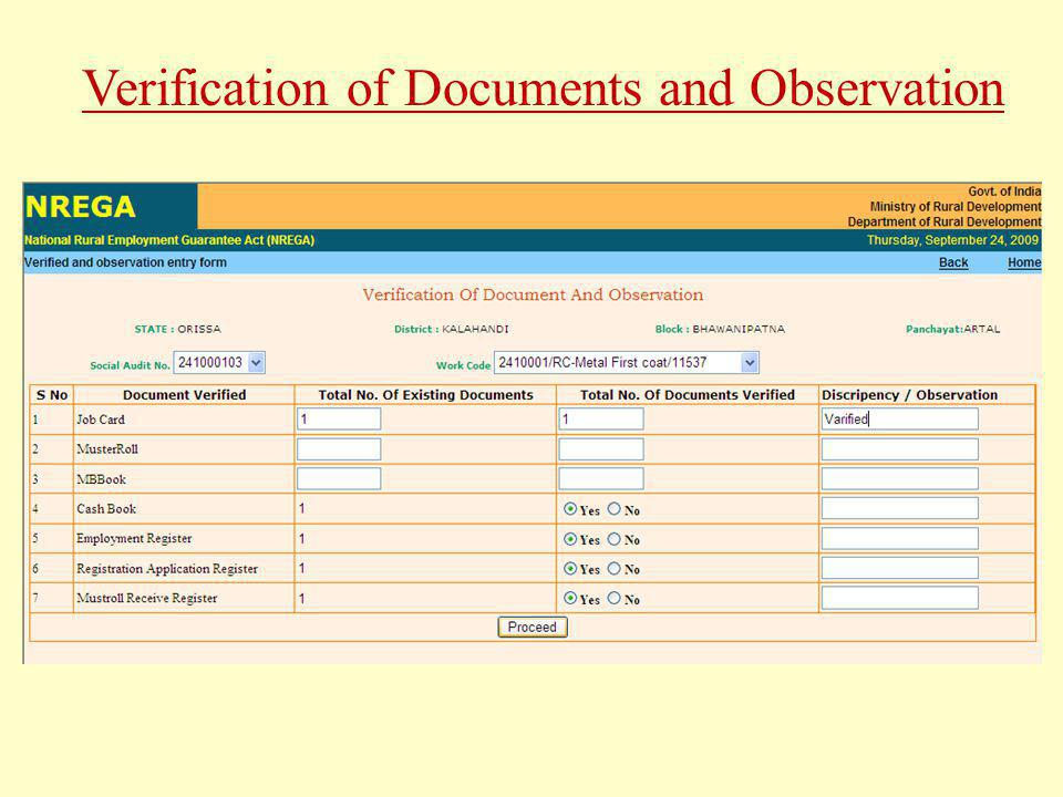 Verification of Documents and Observation