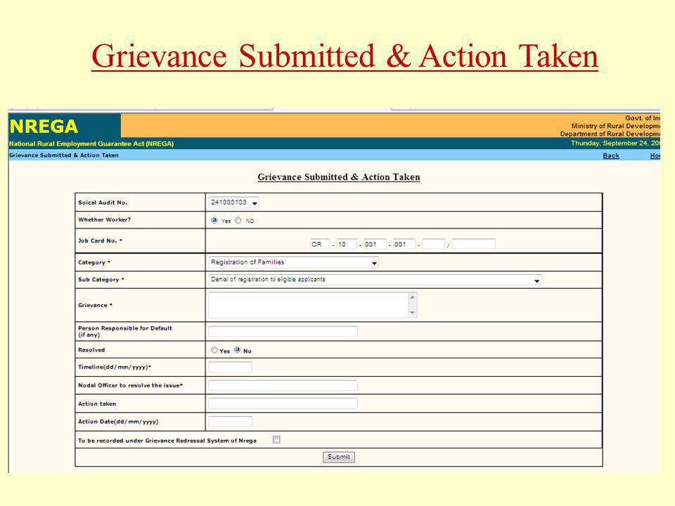 Grievance Submitted & Action Taken