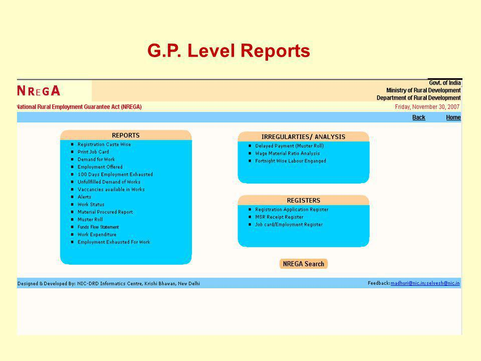 G.P. Level Reports
