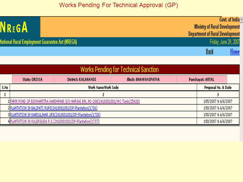 Works Pending For Technical Approval (GP)