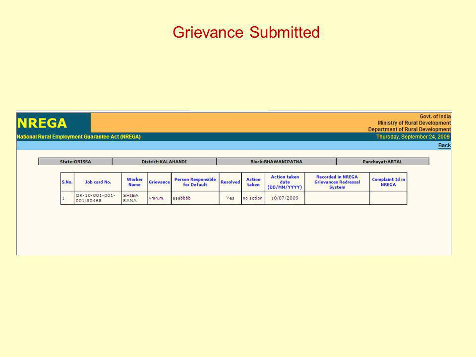 Grievance Submitted