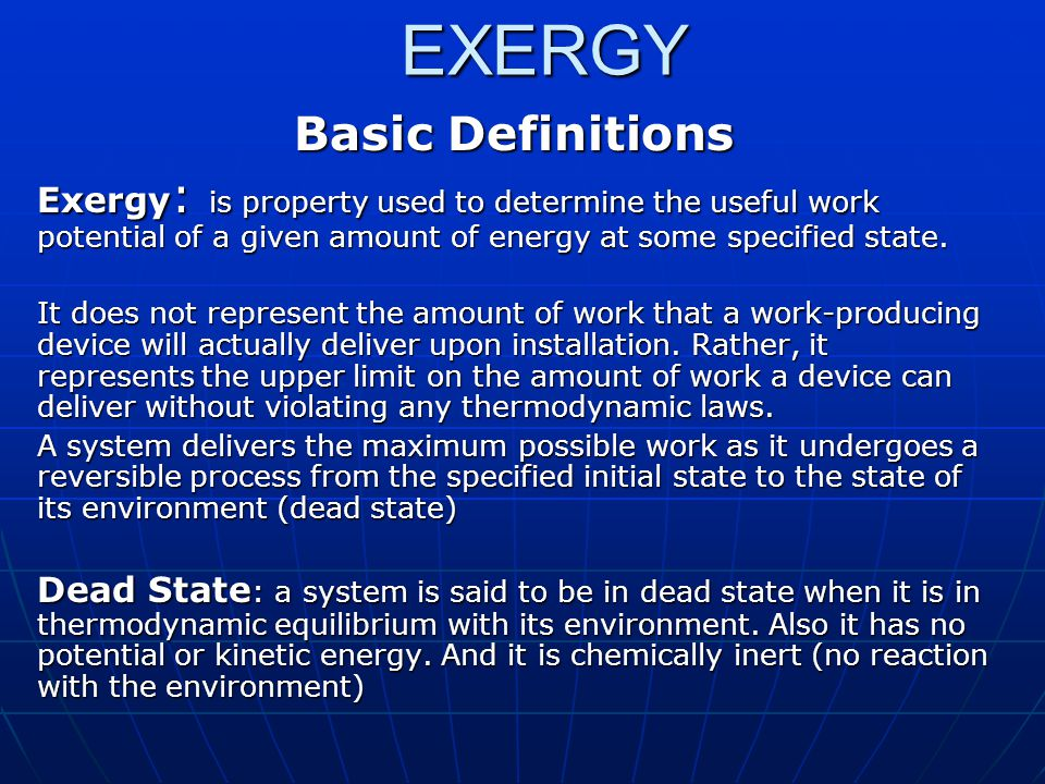 EXERGY Basic Definitions