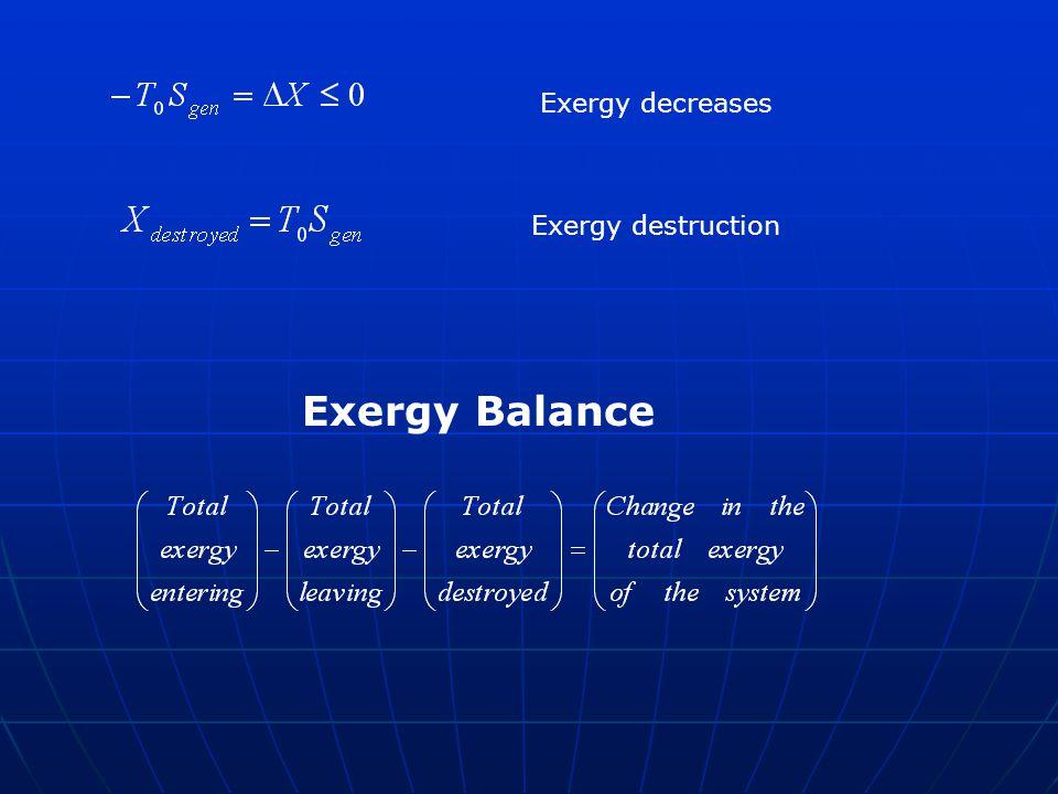 Exergy decreases Exergy destruction Exergy Balance