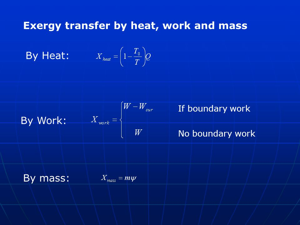 Exergy transfer by heat, work and mass